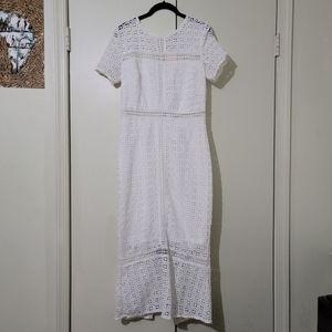 Showny White Crochet Midi Dress